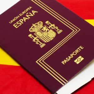 19287539 - spanish passport on spanish flag background